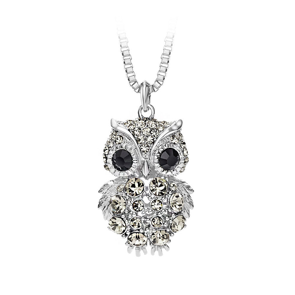 Owl Pendant with Black Austrian Element Crystal with Necklace