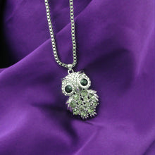 Load image into Gallery viewer, Owl Pendant with Black Austrian Element Crystal with Necklace