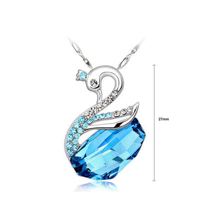 925 Sterling Silver Swan Pendant with Blue Austrian Element Crystals and 46cm Necklace