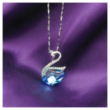 Load image into Gallery viewer, 925 Sterling Silver Swan Pendant with Blue Austrian Element Crystals and 46cm Necklace