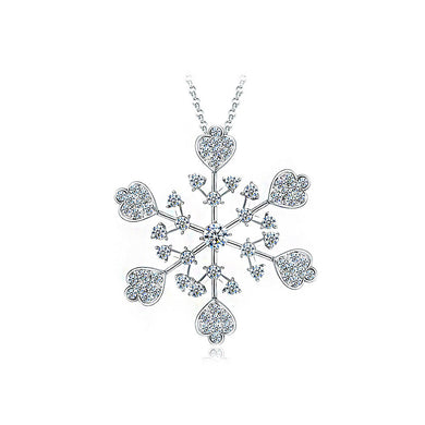 Snowflake Pendant with Silver Austrian Element Crystals and 85cm Necklace