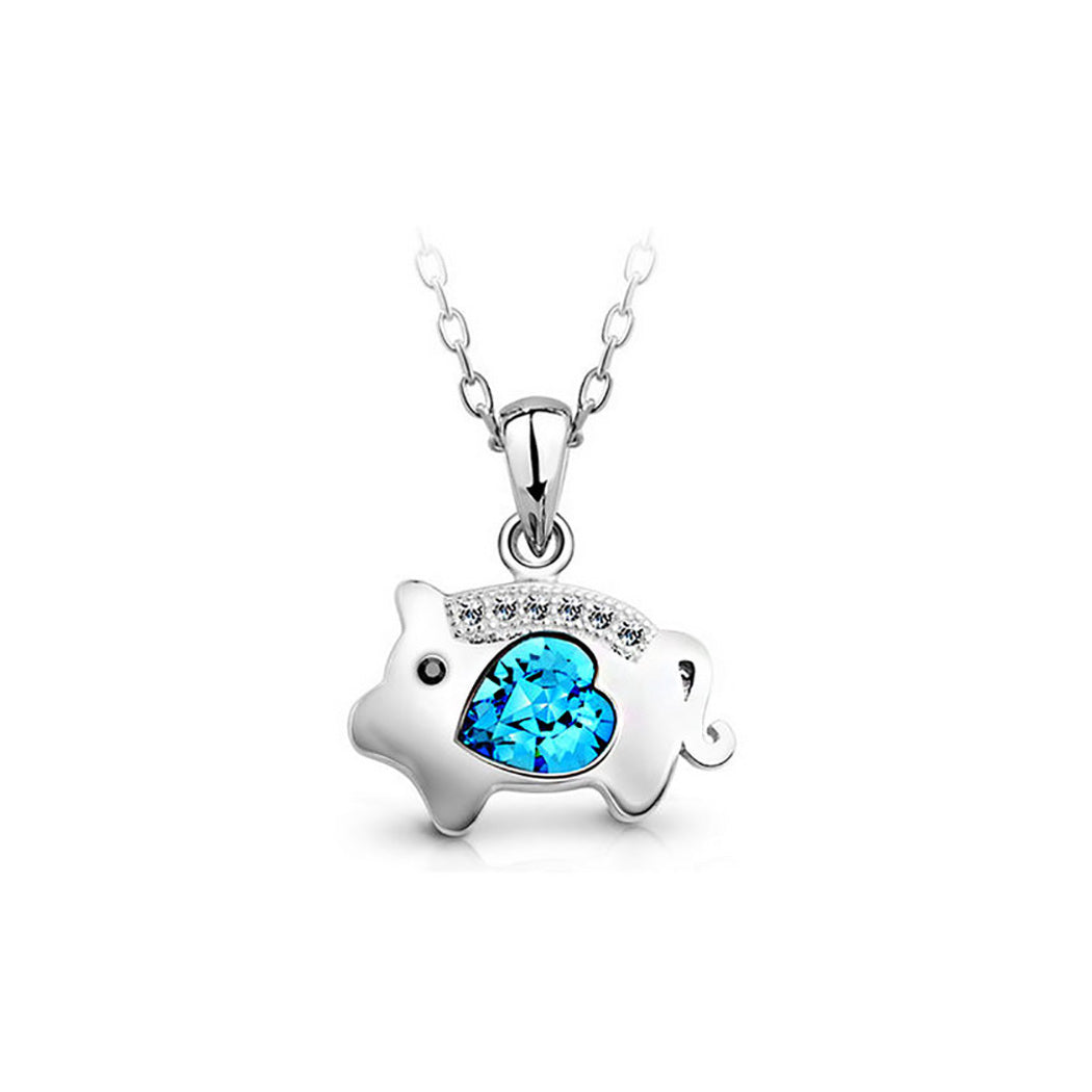 Chinese Zodiac Pig Pendant with Blue Austrian Element Crystal and Necklace