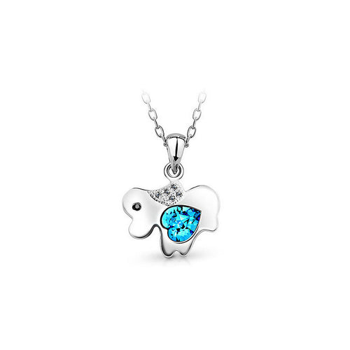 Chinese Zodiac Dog Pendant with Blue Austrian Element Crystal and Necklace
