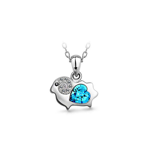 Chinese Zodiac Ram Pendant with Blue Austrian Element Crystal and Necklace