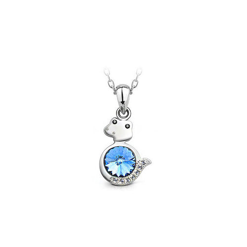 Chinese Zodiac Zodiac Pendant with Blue Austrian Element Crystal and Necklace