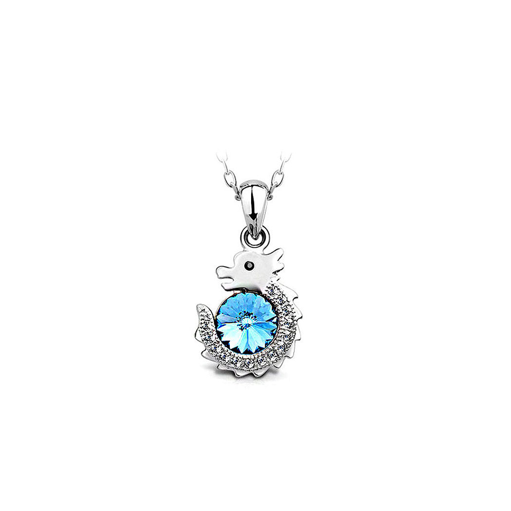 Chinese Zodiac Dragon Pendant with Blue Austrian Element Crystal and Necklace