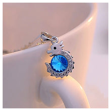 Load image into Gallery viewer, Chinese Zodiac Dragon Pendant with Blue Austrian Element Crystal and Necklace