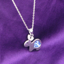 Load image into Gallery viewer, Chinese Zodiac Rabbit Pendant with Blue Austrian Element Crystal and Necklace