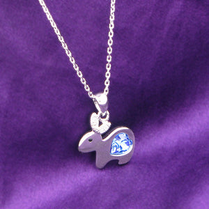 Chinese Zodiac Rabbit Pendant with Blue Austrian Element Crystal and Necklace