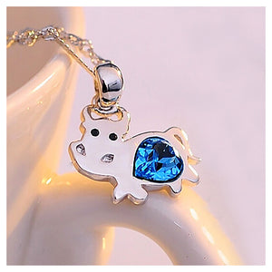 Chinese Zodiac Ox Pendant with Blue Austrian Elements Crystal and Necklace