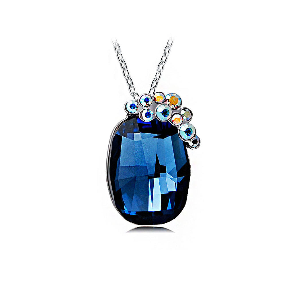Elegant Blue Austrian Element Crystal Pendant with 46cm Necklace