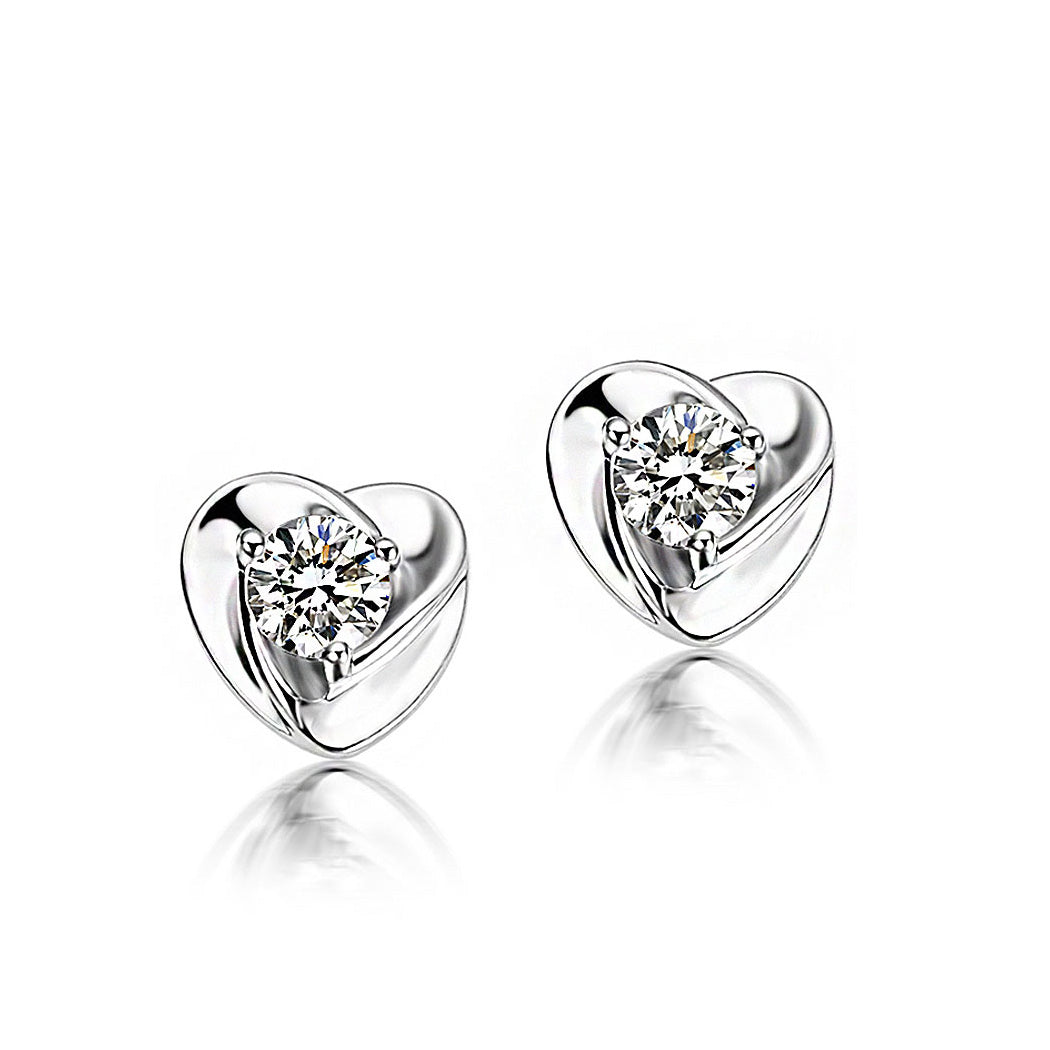 925 Sterling Silver Heart-shaped with White Cubic Zircon Stud Earrings