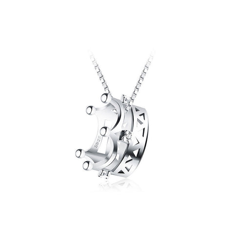 925 Sterling Silver Imperial Crown Pendant with Silver Cubic Zircon and 40cm Necklace