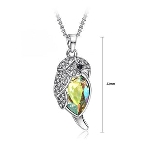 Lovely Parrot Pendant with Fluorescence Green Austrian Element Crystal and Necklace