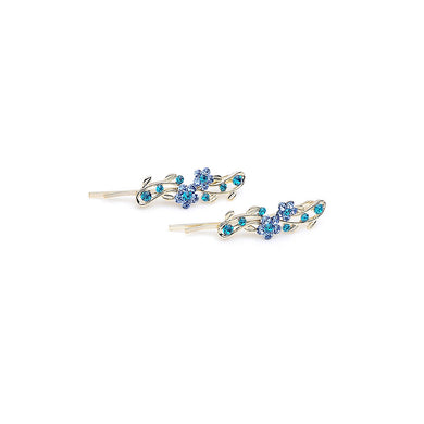 Brilliant Blue Crystal Flower Barrette (one Pair)