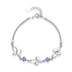 925 Sterling Silver with Purple Cubic Zircon Butterfly Bracelet