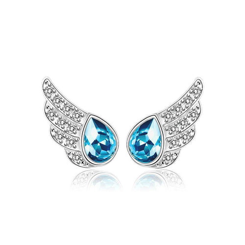 925 Sterling Silver Angel Wing Stud Earrings with Blue Austrian Element Crystal