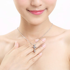 Fashion Tungsten Cross Pendant  with Stainless Steel Necklace For Women