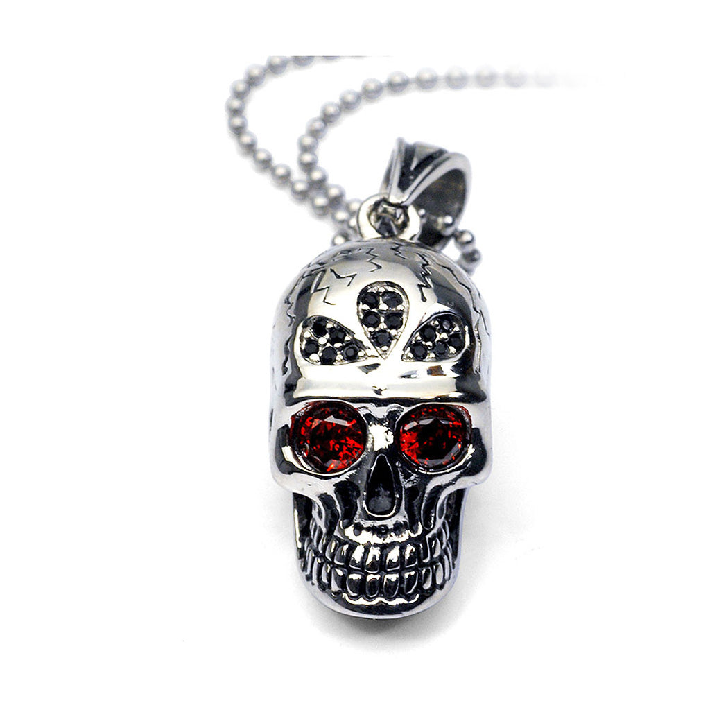 Fashion Stainless Steel Skull and Crossbones Pendant with Red Cubic Zircon and Necklace For Men