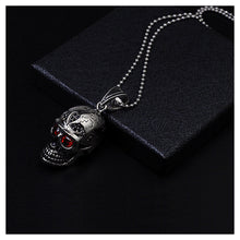 Load image into Gallery viewer, Fashion Stainless Steel Skull and Crossbones Pendant with Red Cubic Zircon and Necklace For Men