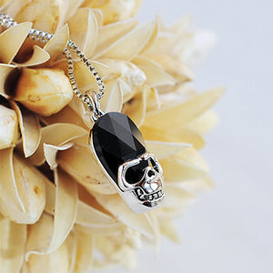Halloween Black Austrian Element Crystal Skull and Crossbones Pendant with Necklace