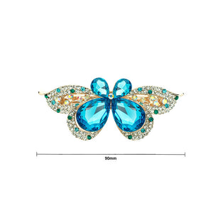 Brilliant Blue Crystal Butterfly Hair Clips