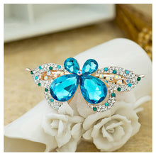 Load image into Gallery viewer, Brilliant Blue Crystal Butterfly Hair Clips