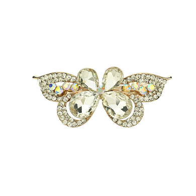 Sweet White Crystal Butterfly Hair Clips