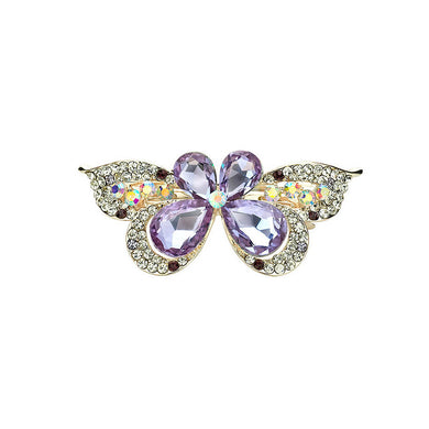 Sweet Purple Crystal Butterfly Hair Clips