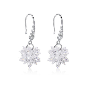 925 Sterling Silver Snowflake with Cubic Zircon Earrings