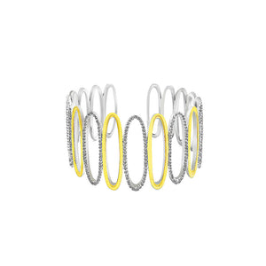 White Gold and K Gold Plated 925 Sterling Silver Hollow Bangle with White Cubic Zircon