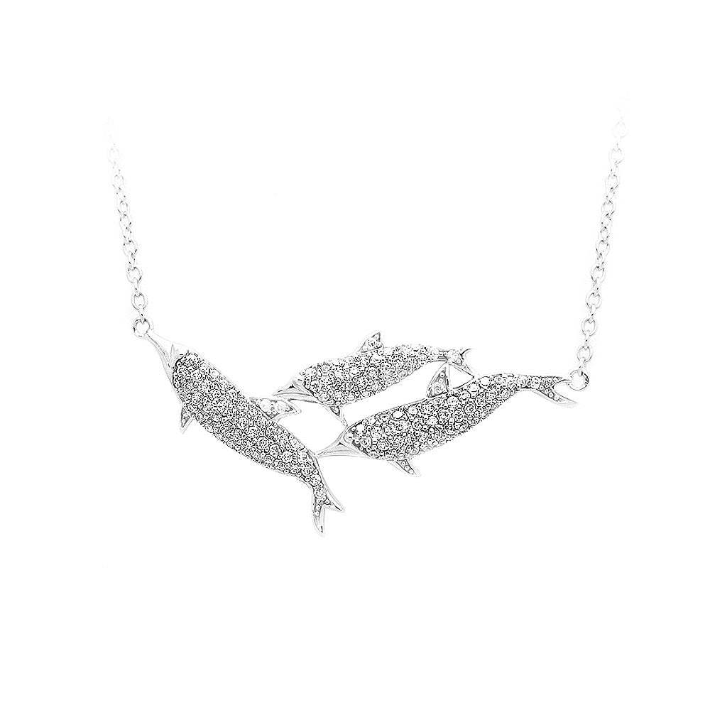 925 Sterling Silver Whale with White Cubic Zircon and Necklace