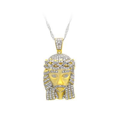 K Gold Plated 925 Sterling Silver Portrait Pendant with White Cubic Zircon and Necklace