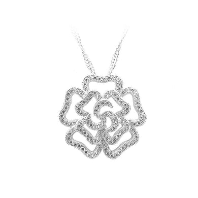 925 Sterling Silver Rose Pendant with White Cubic Zircon and Necklace