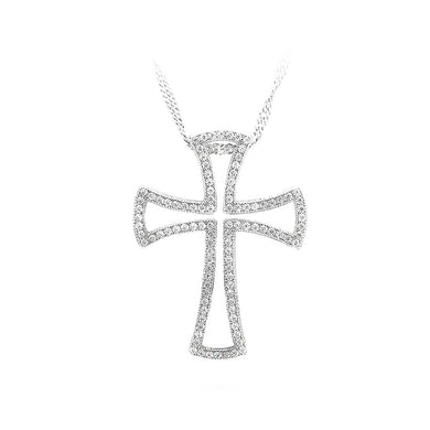 925 Sterling Silver Cross Pendant with White Cubic Zircon and Necklace
