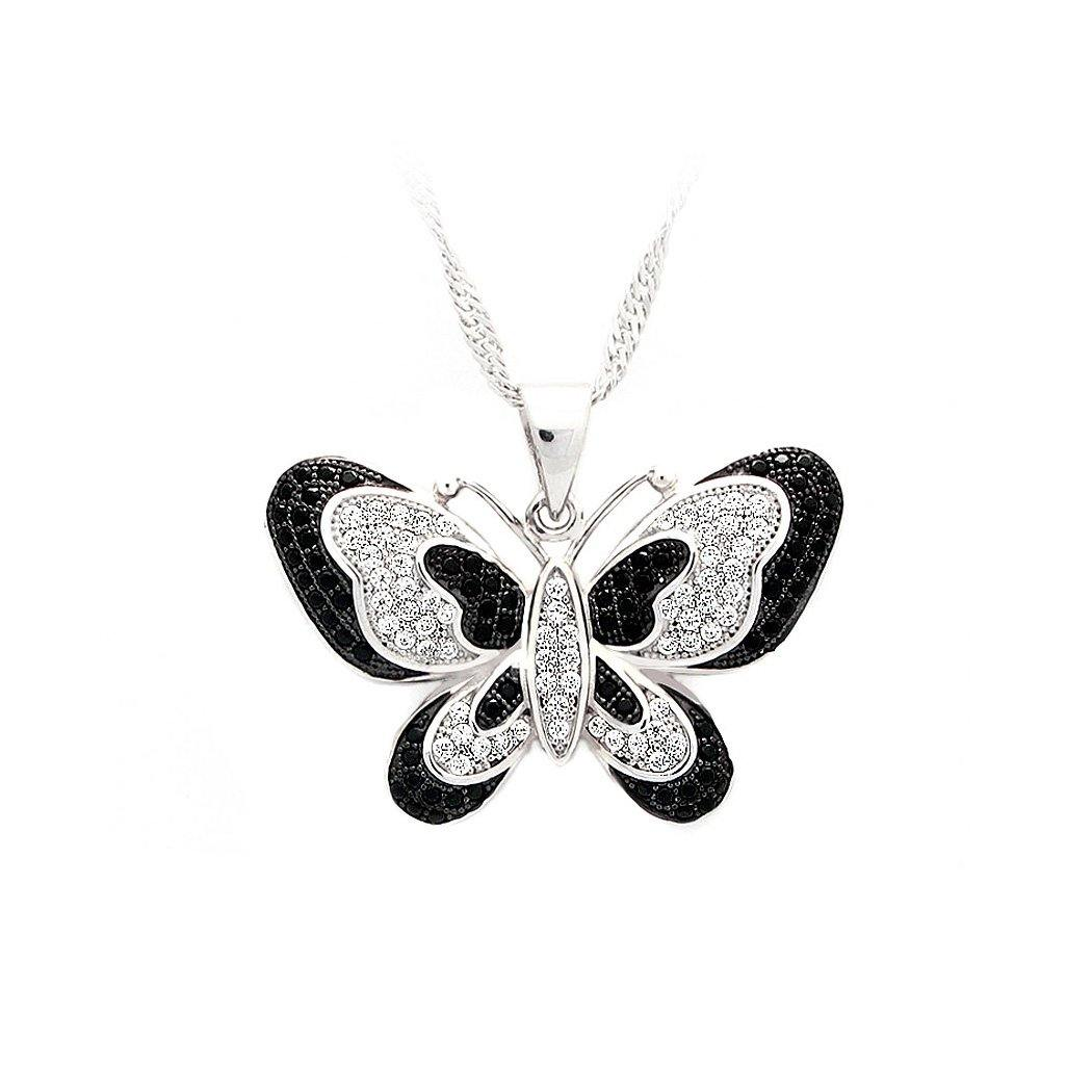 925 Sterling Silver Butterfly Pendant with Black and White Cubic Zircon and Necklace - Glamorousky