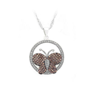 925 Sterling Silver Butterfly Pendant with Brown and White Cubic Zircon and Necklace