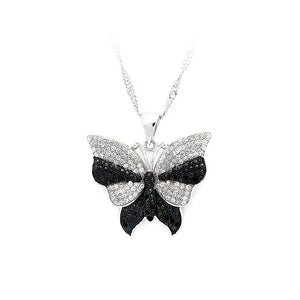 925 Sterling Silver Butterfly Pendant with Black and White Cubic Zircon and Necklace