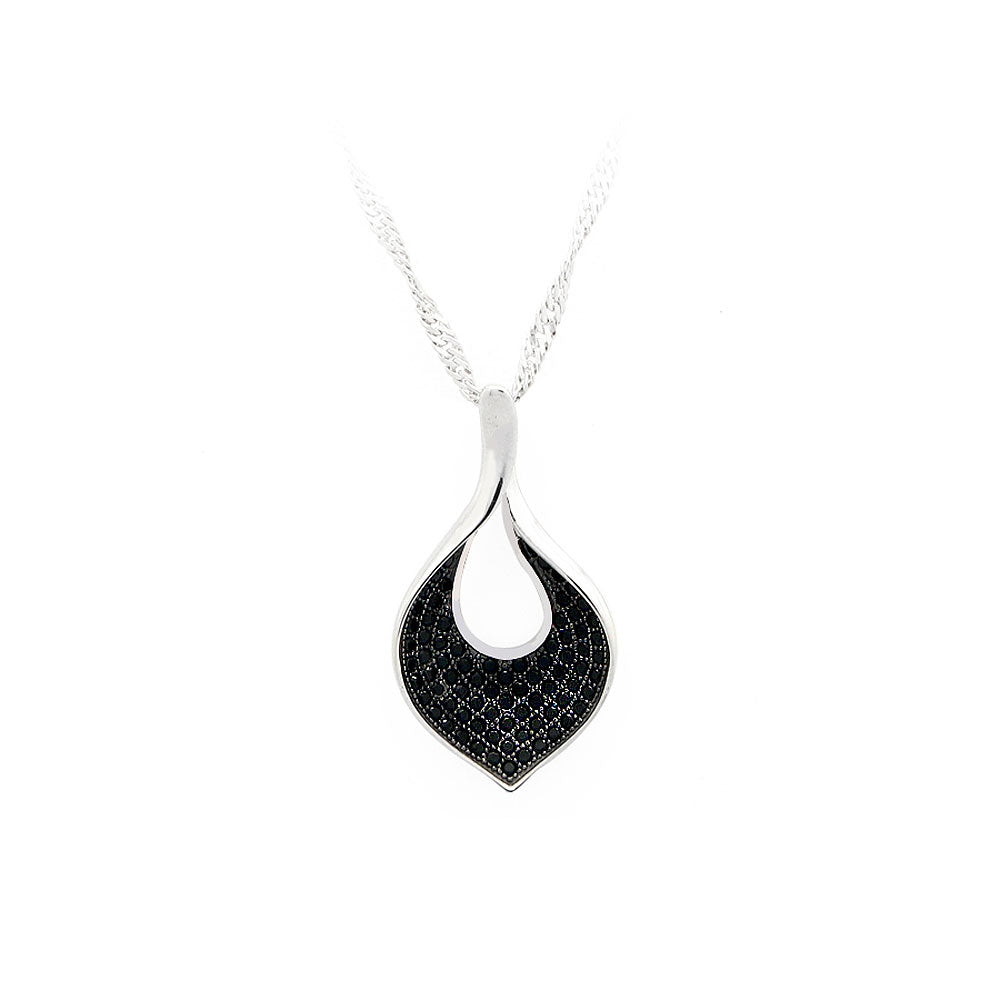 925 Sterling Silver Leaf Pendant with Black Cubic Zircon and Necklace