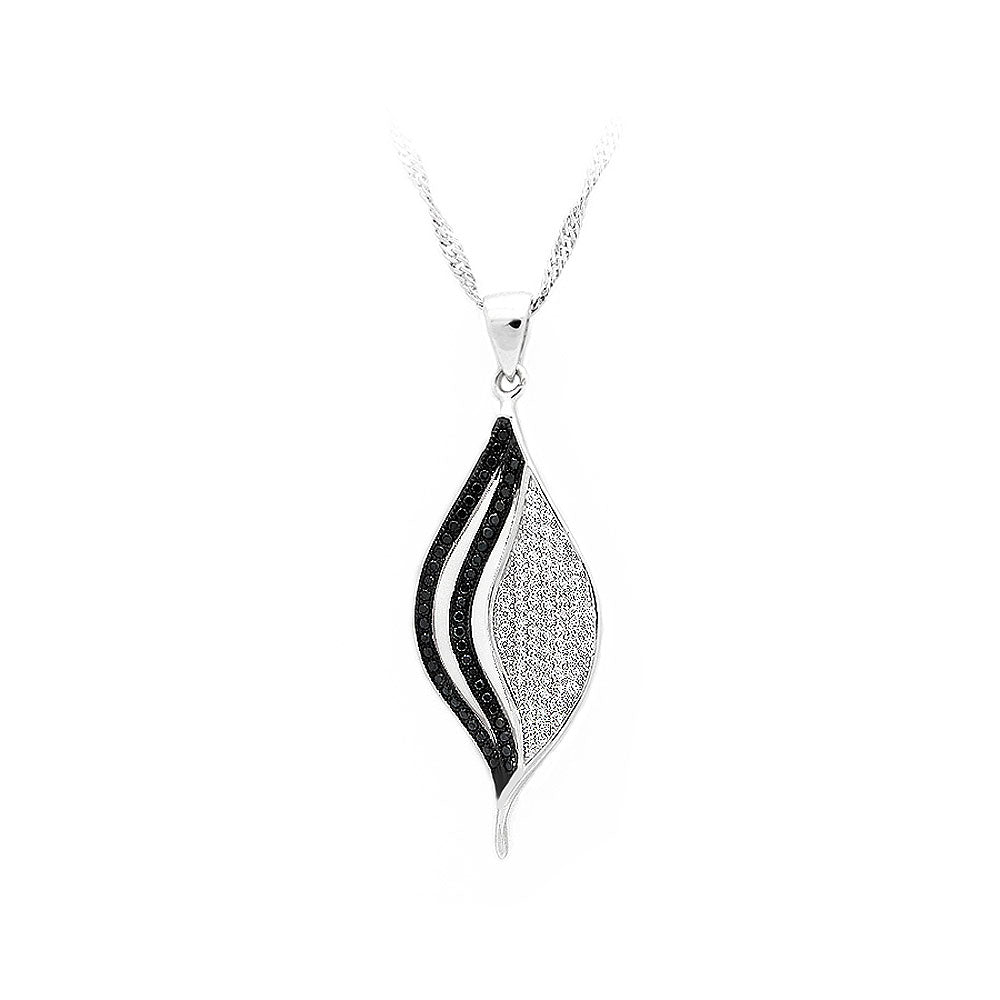 925 Sterling Silver Leaf Pendant with Black and White Cubic Zircon and Necklace