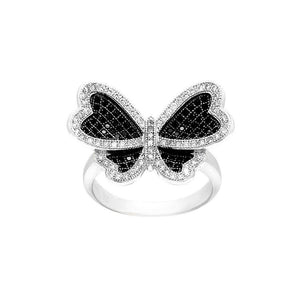 925 Sterling Silver Butterfly Ring with Black and White Cubic Zircon