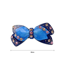 Load image into Gallery viewer, Elegant Blue Crystal Ribbon Hair Clip