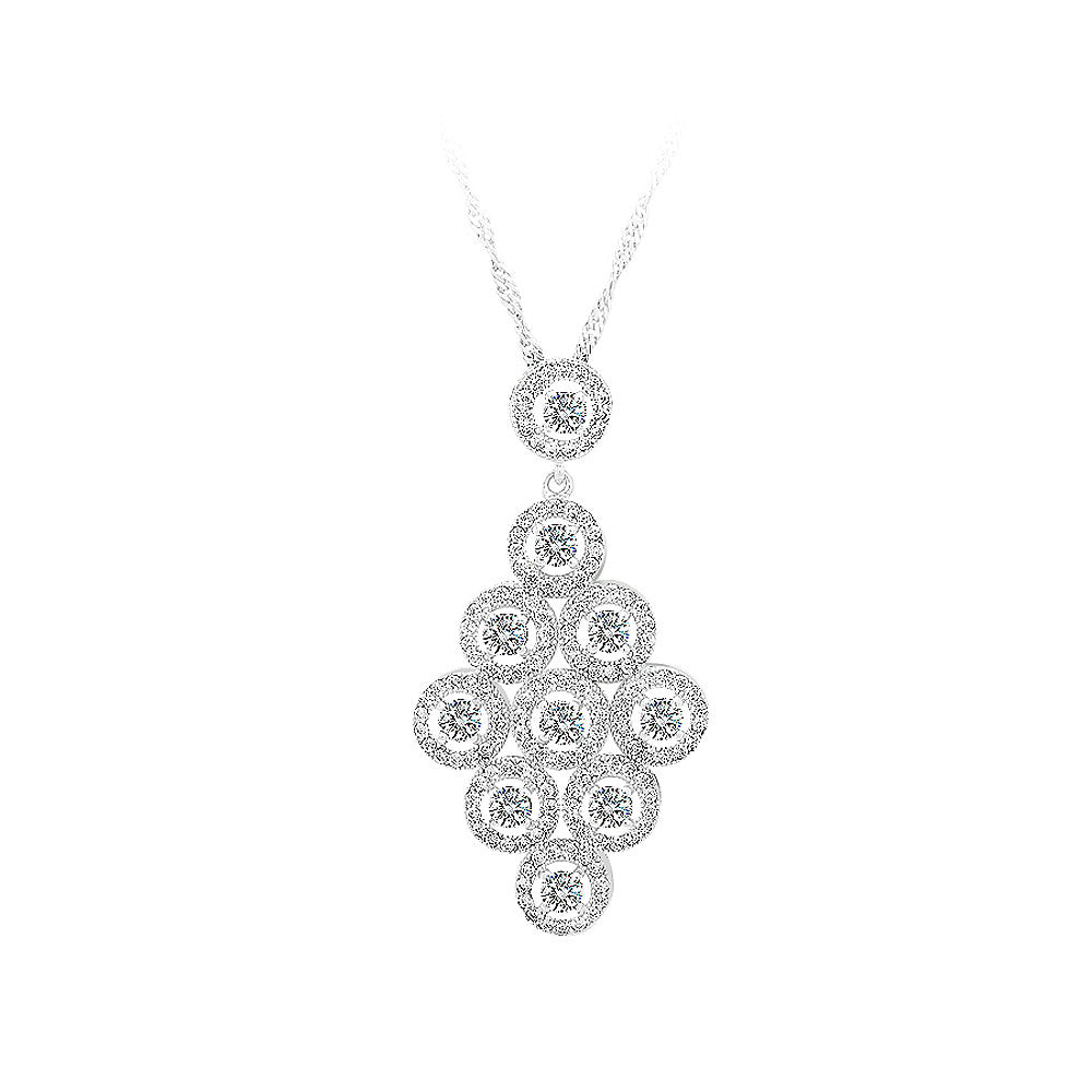 925 Sterling Silver Rhombus Pendant with White Cubic Zircon and Necklace