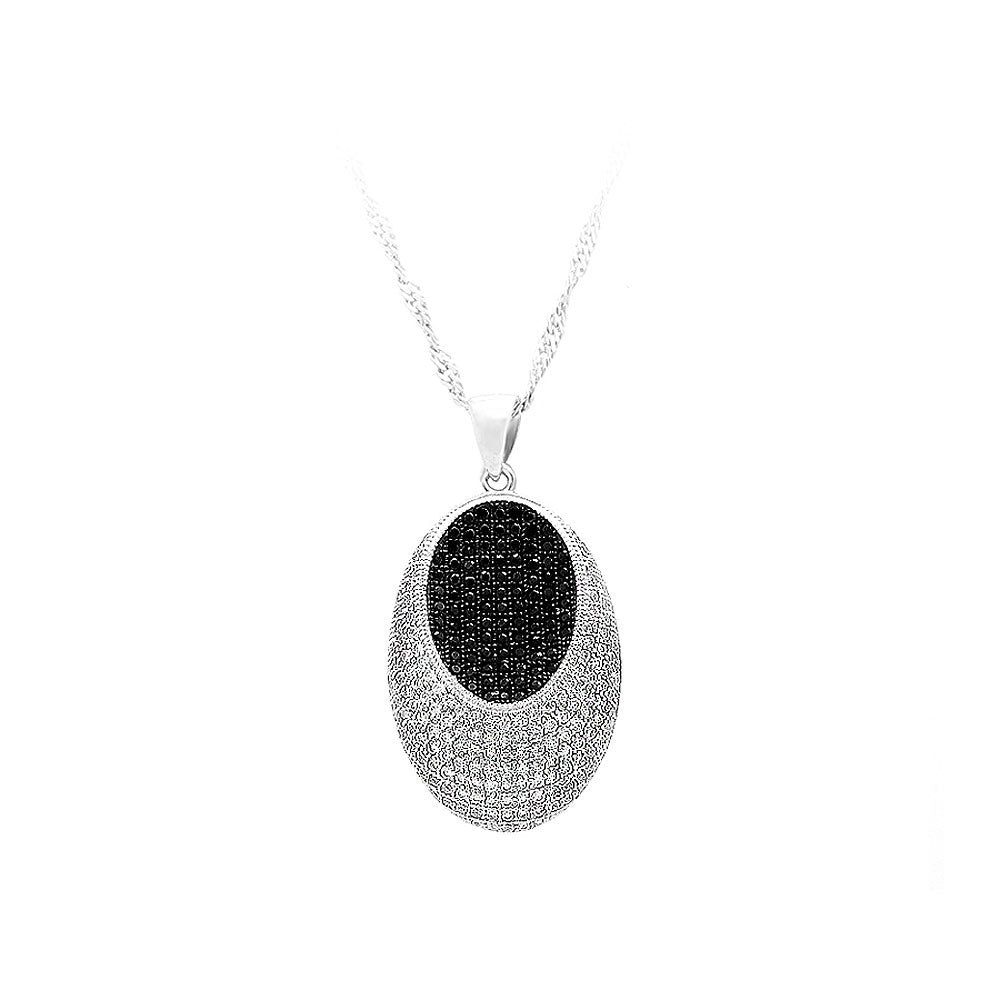925 Sterling Silver Oval Pendant with White and Black Cubic Zircon and Necklace