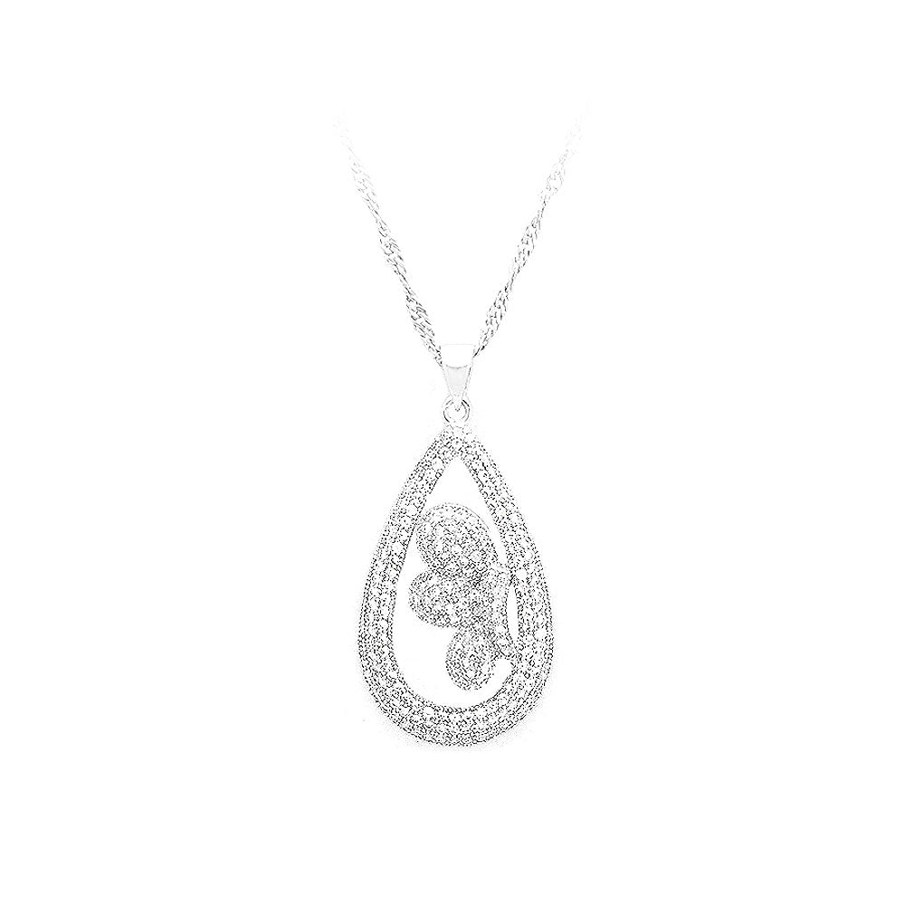 925 Sterling Silver Water Drops Pendant with White Cubic Zircon and Necklace