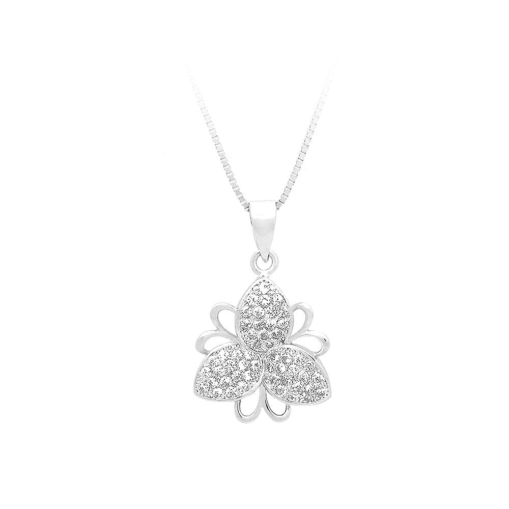 925 Sterling Silver Flower Pendant with White Cubic Zircon and Necklace