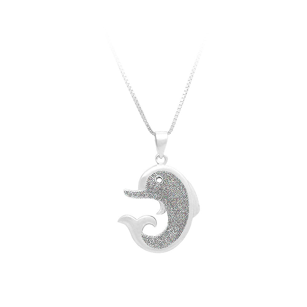 925 Sterling Silver Dolphin Pendant with White Cubic Zircon and Necklace