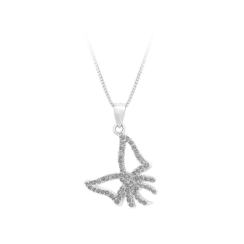 925 Sterling Silver Bow Pendant with White Cubic Zircon and Necklace