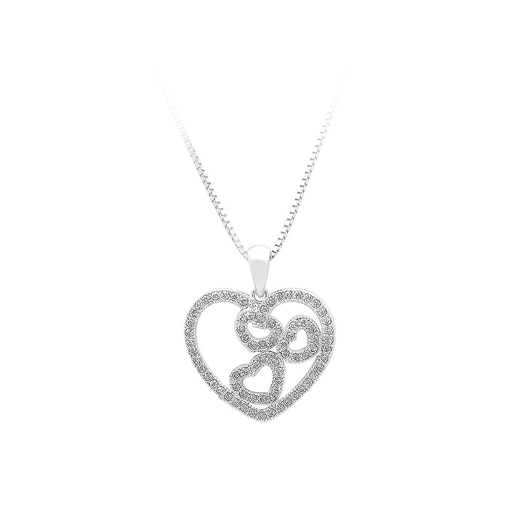 925 Sterling Silver Heart-shaped Pendant with White Cubic Zircon and Necklace
