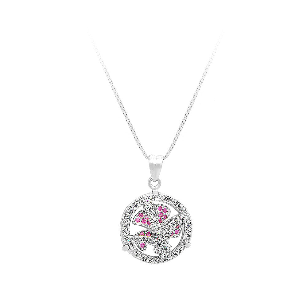 925 Sterling Silver Windmill Pendant with Rose Red Cubic Zircon and Necklace